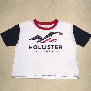 Women's Hollister Crop Top Tee Shirt USA Flag XS